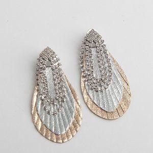 Henri Bendel Diamond Tassels Leather Stud Earrings